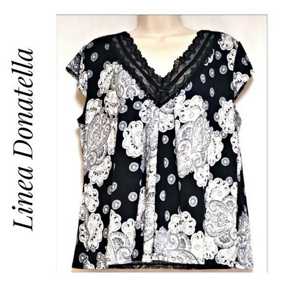 Linea Donatella Tops - Linea Donatella V-Neck Black White Paisley Blouse